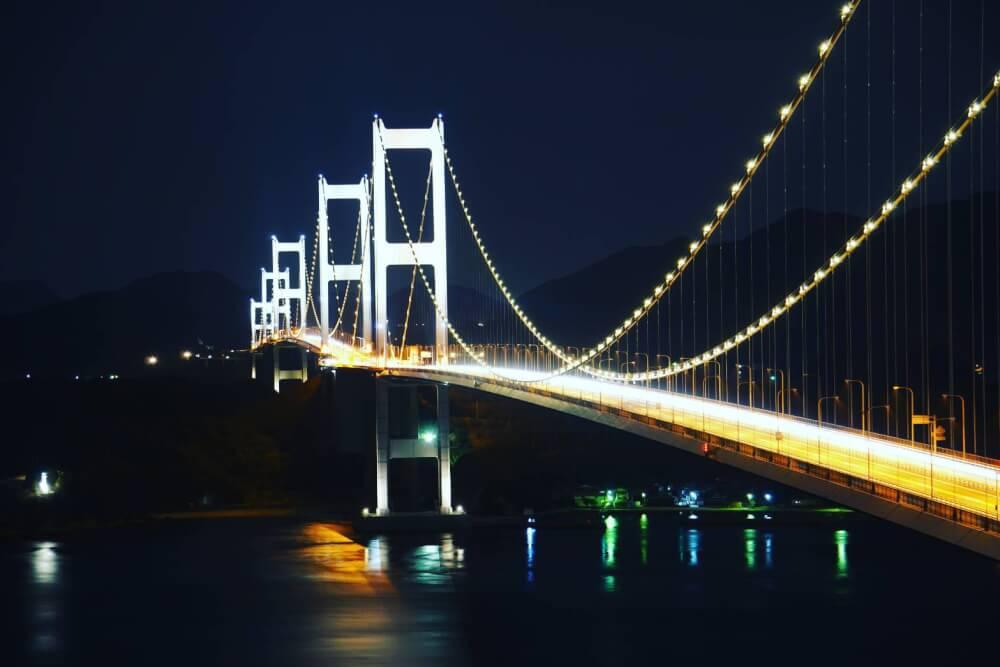 【今治店】来島海峡大橋のライトアップ